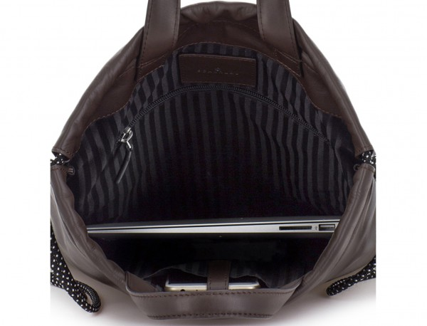 leather flat backpack in brown laptop