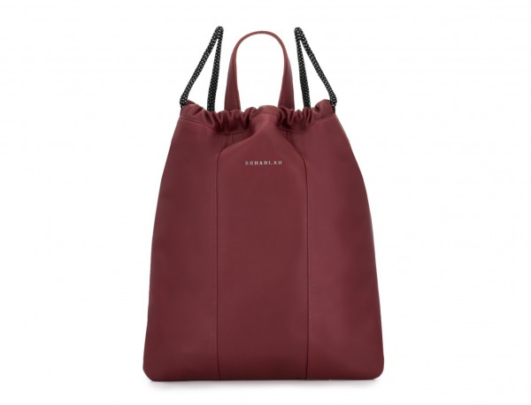 leather flat backpack in burgundy front