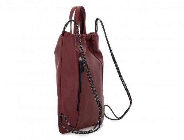 leather flat backpack in burgundy back