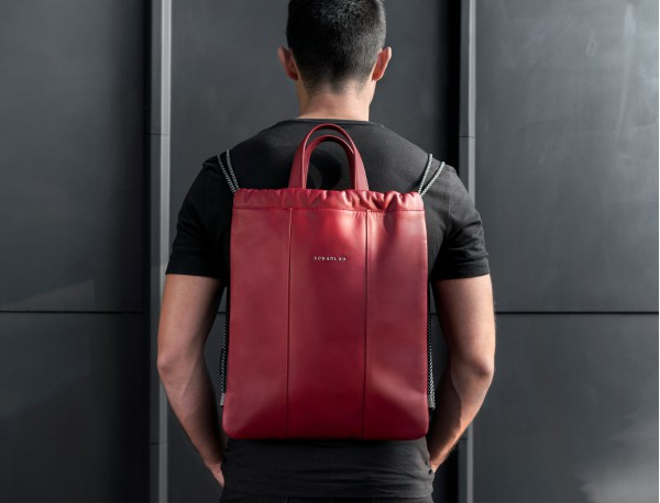 leather flat backpack in burgundy model
