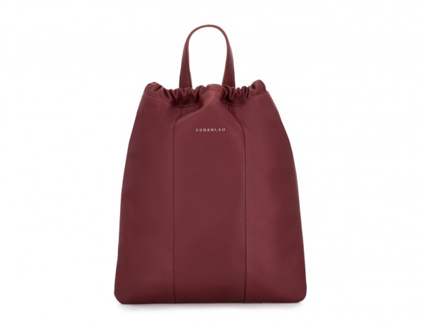 leather flat backpack in burgundy tote woman