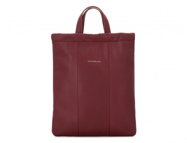 leather flat backpack in burgundy closed