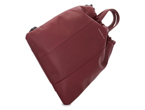 leather flat backpack in burgundy base