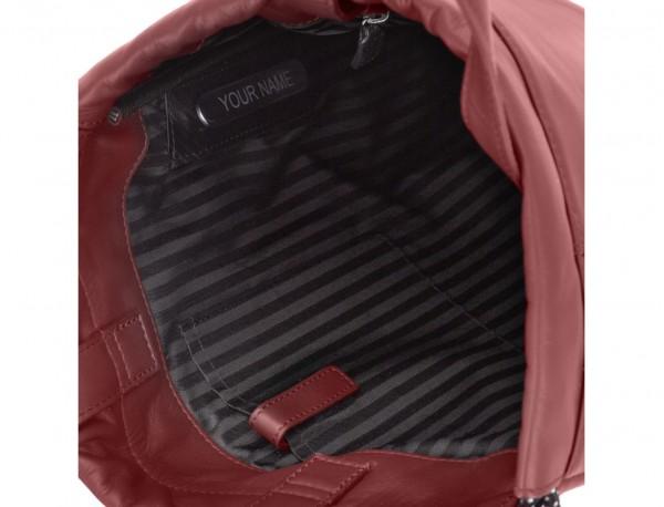 mochila plana de piel burdeos personalizada