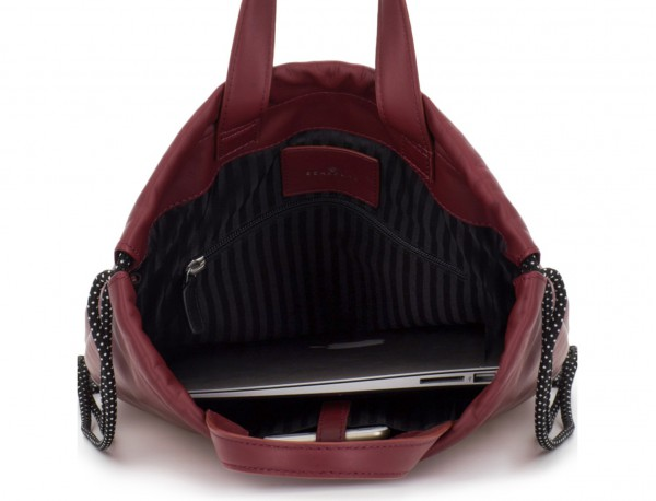 leather flat backpack in burgundy laptop