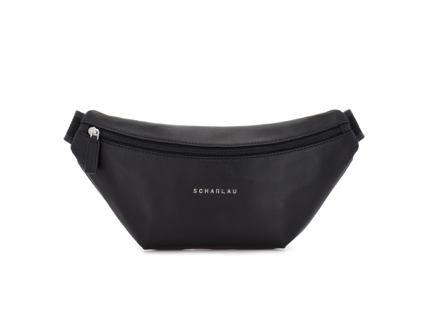 leather waist bag in black front