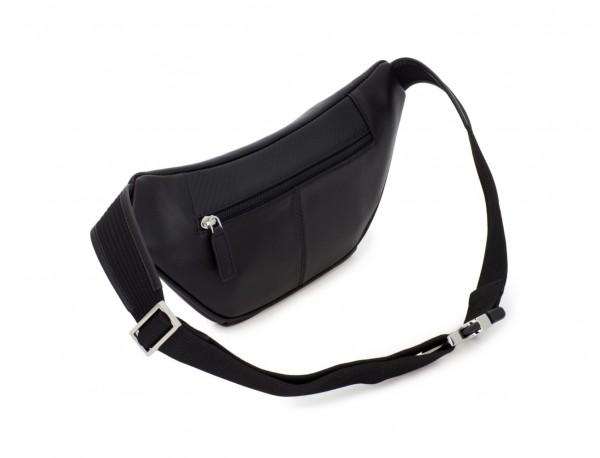 leather waist bag in black back