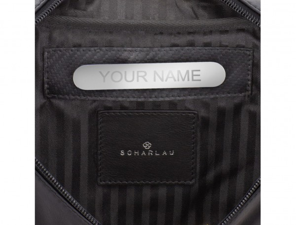 leather waist bag in black personalized