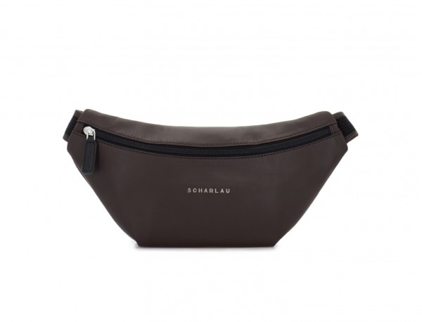 leather waist bag in brown front