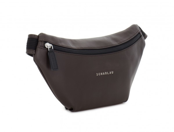 leather waist bag in brown side