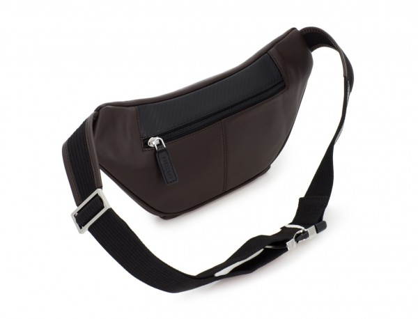 leather waist bag in brown back