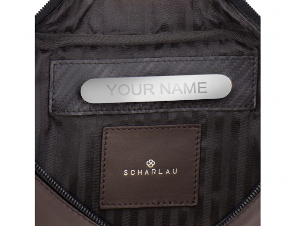 leather waist bag in brown personalized