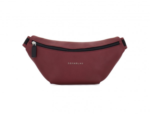 leather waist bag in brown Burgundy front