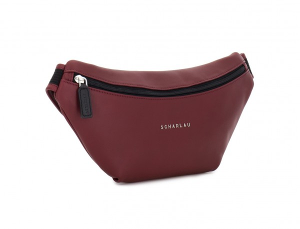 leather waist bag in brown Burgundy side