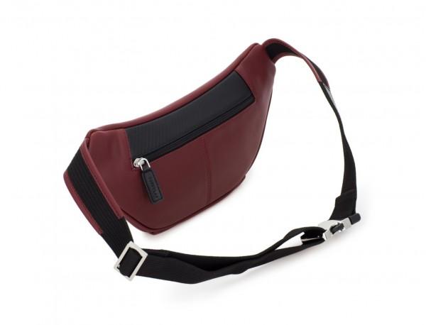 leather waist bag in brown Burgundy back