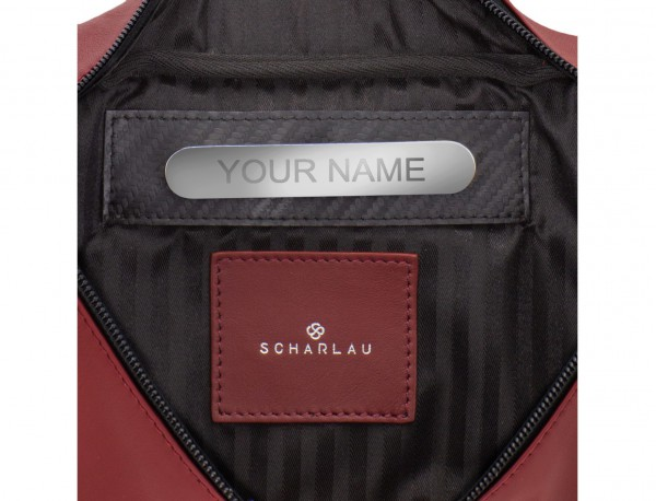 leather waist bag in brown Burgundy personalized