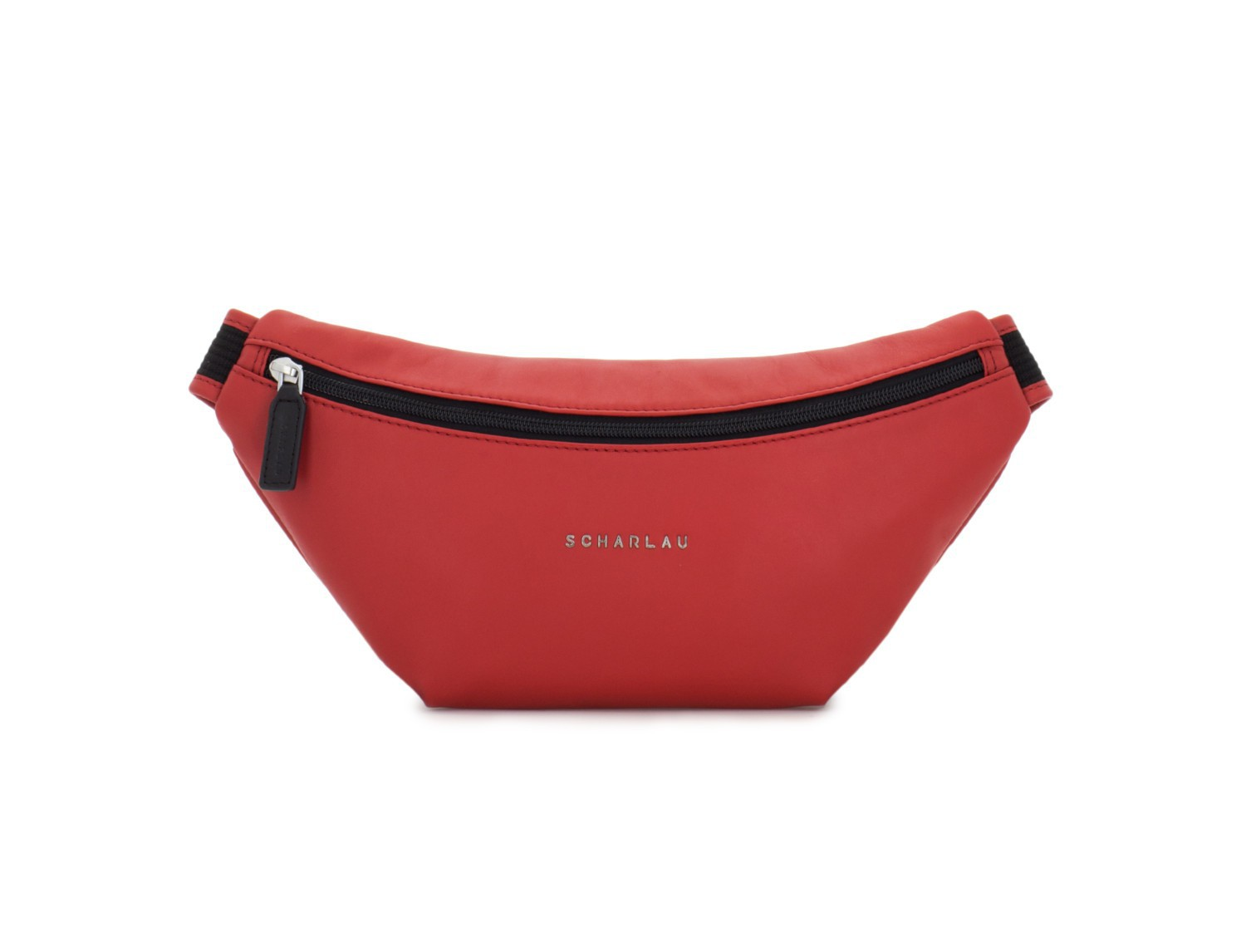 leather waist bag in brown red front