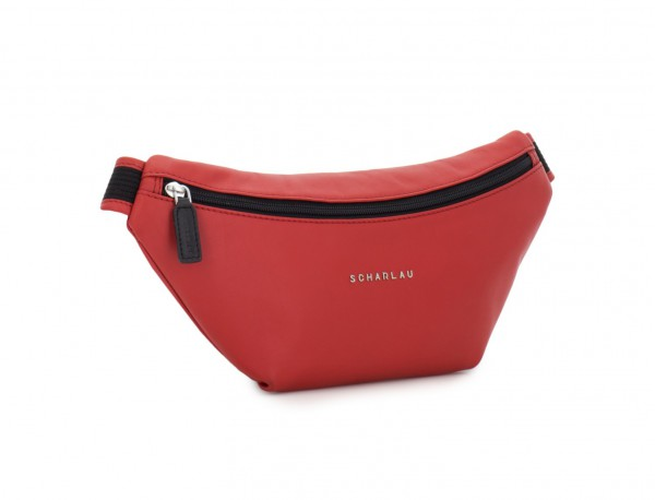 leather waist bag in brown red side