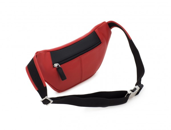 leather waist bag in brown red back