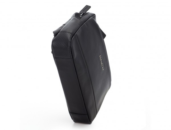 Leather waist bag in black side