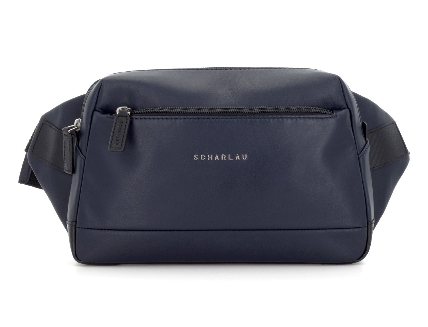 Leather waist bag in blue front