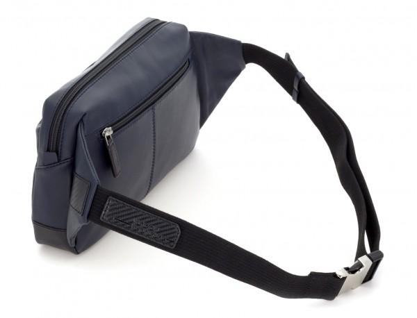 Leather waist bag in blue back