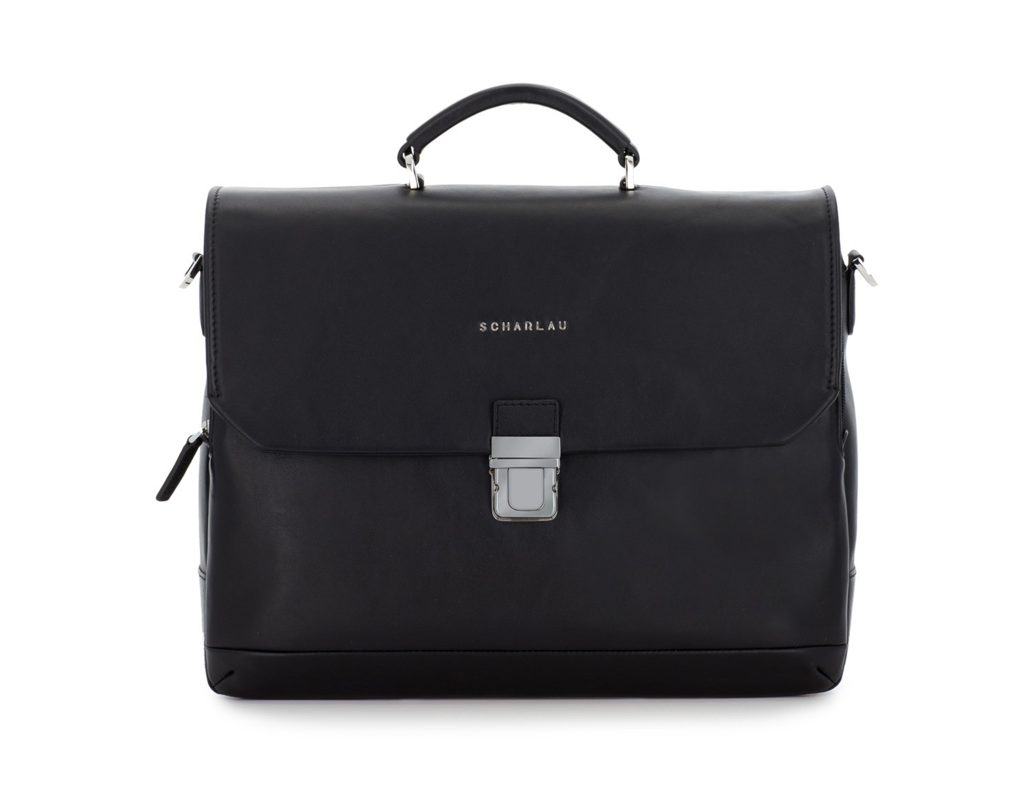 leather briefbag with flap black front