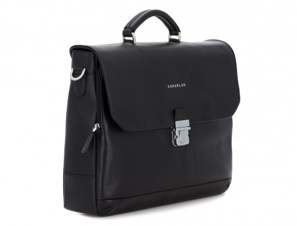 maletín con solapa de cuero negro lado