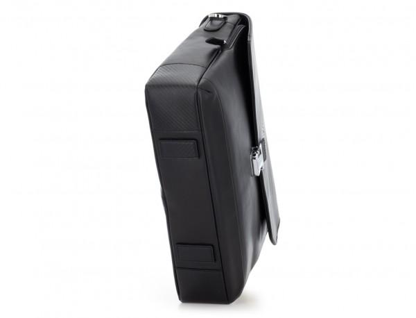 maletín con solapa de cuero negro base