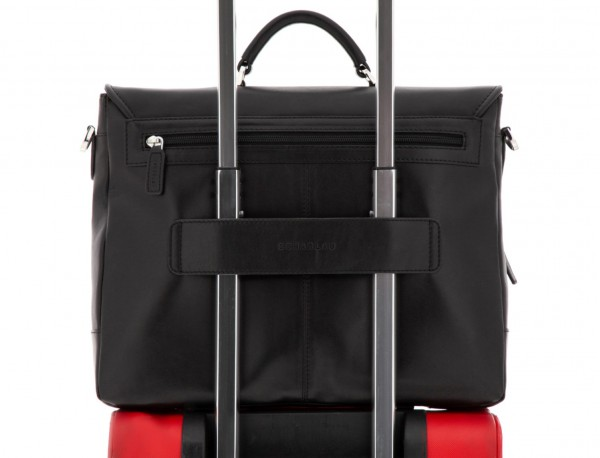 leather briefbag with flap black trolley