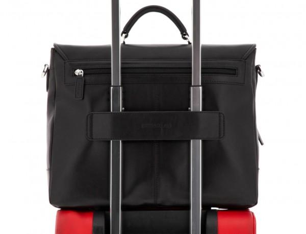 maletín con solapa de cuero negro trolley