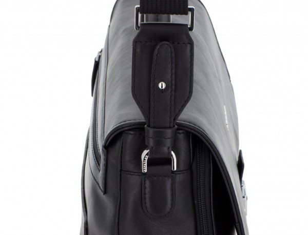 leather briefbag with flap black strap