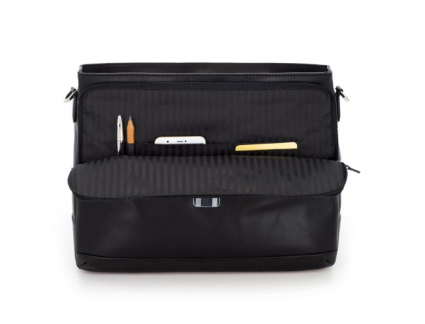 maletín con solapa de cuero negro interior