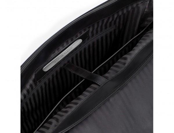 maletín con solapa de cuero negro personalizado