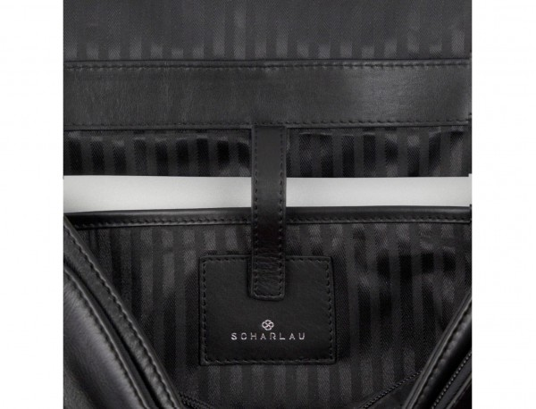 leather briefbag with flap black laptop