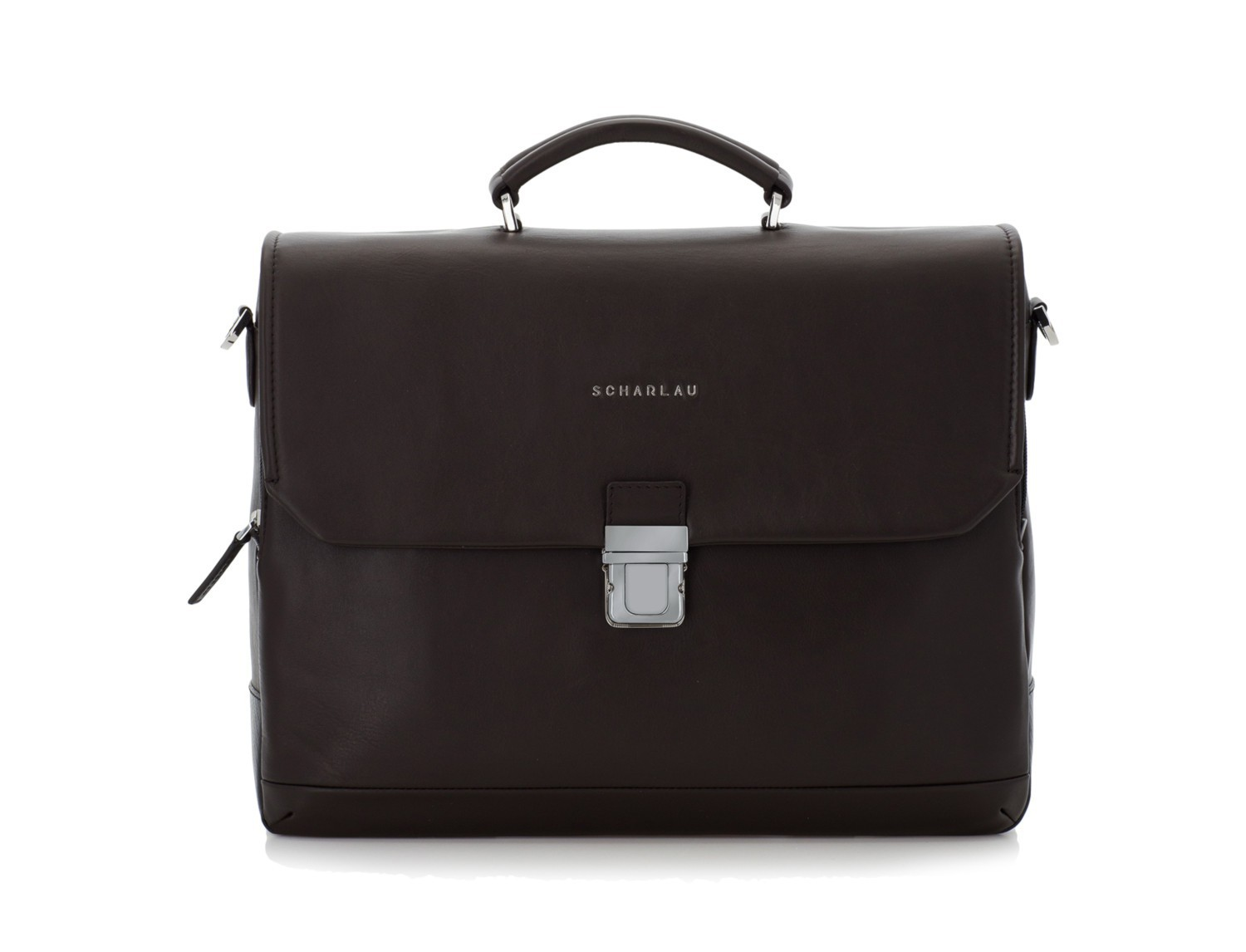leather briefbag with flap brown front