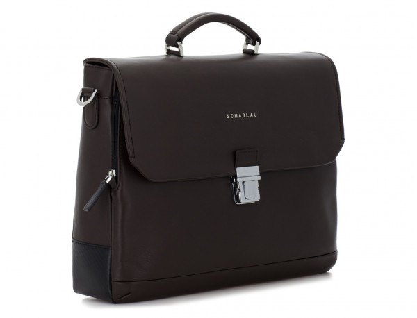 leather briefbag with flap brown side