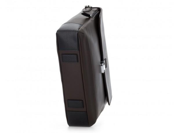 maletín con solapa de cuero marrón base