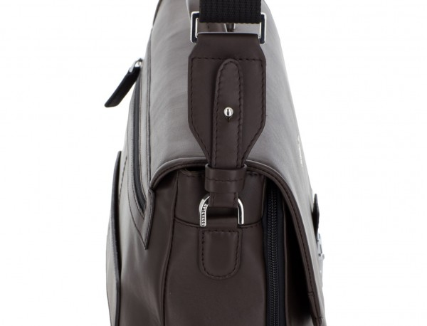 leather briefbag with flap brown strap