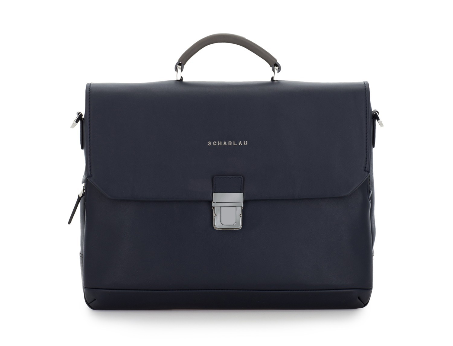 leather briefbag with flap blue front