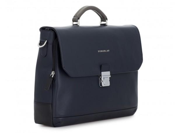 maletín con solapa de cuero marrón azul lado