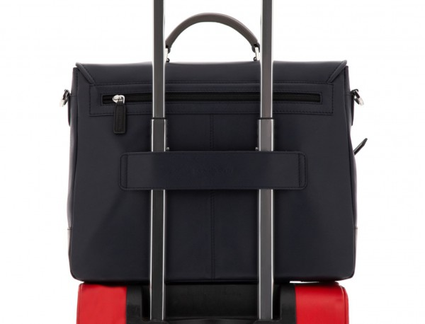 maletín con solapa de cuero marrón azul trolley