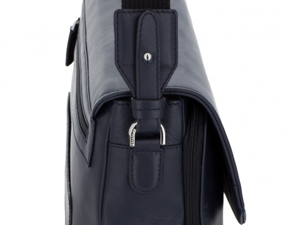 leather briefbag with flap blue shoulder strap