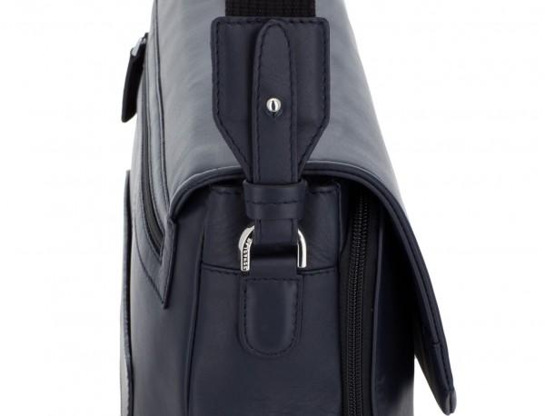 maletín con solapa de cuero marrón azul bandolera