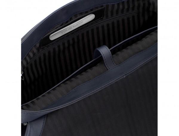 maletín con solapa de cuero marrón azul personalizado