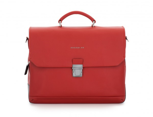 leather briefbag with flap red front