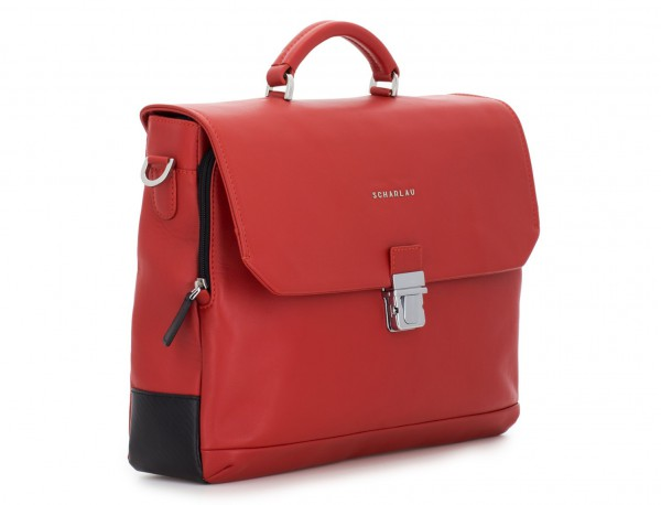leather briefbag with flap red side