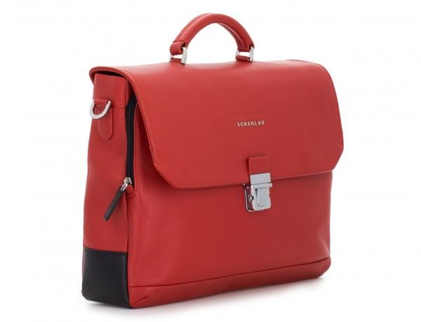 maletín con solapa de cuero marrón rojo lado