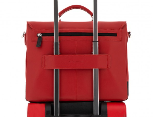leather briefbag with flap red trolley