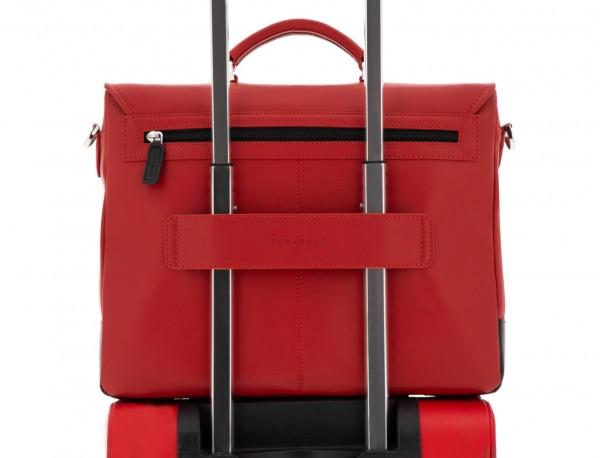 maletín con solapa de cuero marrón rojo trolley
